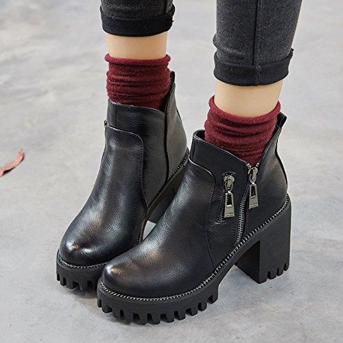 kebule 克卜勒 欧美超高跟靴女 雪梨同款粗跟短靴 圆头防水台加绒棉靴踝靴 冬季雪地靴女小码34码