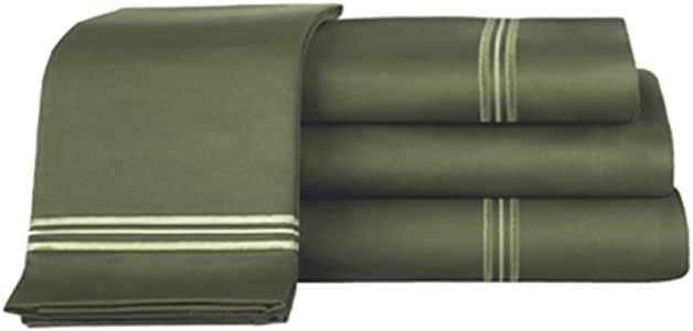 VIDAMORE V1606-QD 埃及棉缎羽绒被套套装,中号双人床,深橄榄色