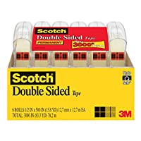 Scotch Double Sided Tape, 1/2 x 500 Inches, 6 Dispensers/Pack (6137H-2PC-MP)
