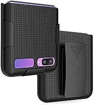 Nakedcellphone [网格纹理] 卡扣式硬壳保护套带[旋转/棘轮]皮带夹皮套支架适用于三星 Galaxy Z Flip Phone (SM-F700) 黑色