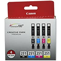Canon CLI-251 創意公園優質墨盒,黑色、青色、洋紅、黃色 - 4 色套裝