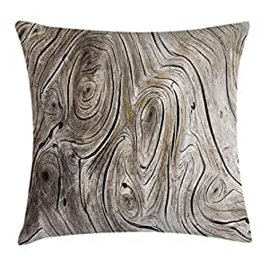Rustic Home Decor Throw Pillow Cushion Cover by Ambesonne, Life Cycle Age Circle of Inner Annual Rings Growth Years Whorls Dramatic Theme, Decorative Square Accent Pillow Case, 24 X 24 Inches, Brown