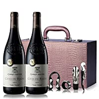 法国罗纳河谷法定产区葡萄酒 罗伯特帕克90分 AOC干红葡萄酒 金棕色双支礼盒装