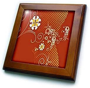 ANNE marie baugh 抽象–橙色,黄色,以及米白色鲜花圆圈–框架瓷砖