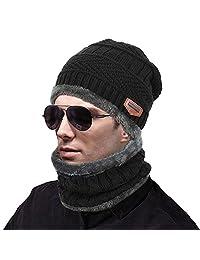 muco 女式男式冬季帽子保暖厚无檐小便帽围巾 冬季针织滑雪无檐小便帽