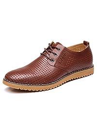 ChicWind 男士透气皮革休闲鞋系带牛津鞋正装鞋棕色