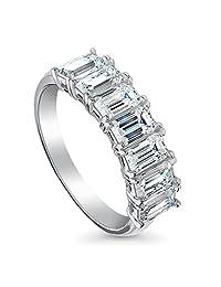 BERRICLE 镀铑纯银 7 颗宝石半永恒戒指套装,带施华洛世奇锆石玉石切割