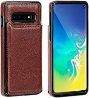 IronSeals AQ 折疊卡槽皮革手機套錢包帶磁扣適用于三星 S10/S10e/S10+ S10 棕色