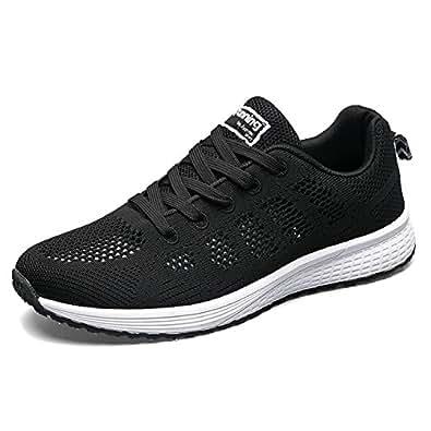 JACKSHIBO 女士轻质气垫舒适跑鞋 黑色 Women 8.5(m) B US