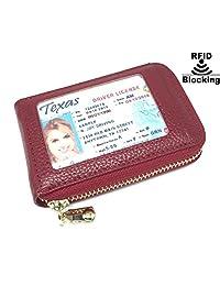 RFID 屏蔽男式女式皮革钱包身份证卡夹皮革卡套 - 深红色