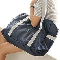 短途旅行包 可挂旅行箱 可折叠尼龙旅行袋 防水大容量 男女短途手提包 收纳旅游行李包 可套拉杆箱 (藏青)