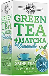 Gus and Joan Green Tea, Chamomile and Matcha, (Pack of 6), 120 Total Tea Bags
