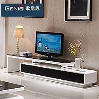 现代电视柜 现代简约钢化玻璃电视柜 烤漆电视柜 客厅家具电视柜组合 可伸缩电视柜 地柜 (配套电视柜(180CM*40CM*43CM), 经典黑白色)