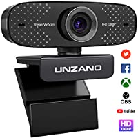UNZANO USB 網絡攝像頭,帶麥克風,1080P 全高清網絡攝像頭,適用于筆記本電腦和臺式機 - 視頻通話和錄音 PC 網絡攝像頭,可播放,360 度可旋轉