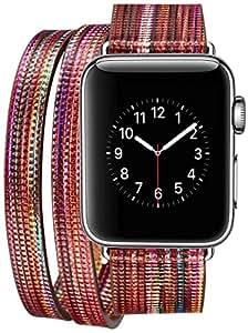 iPM 皮革双缠绕苹果手表表带,颜色有趣 Dark Orange 38 mm