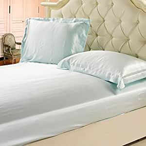 Lilysilk 19 Momme Seamless 100% Mulberry Silk Fitted Sheet, Full, Pale Turquoise