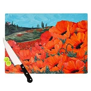 "Kess InHouse Christen Treat Poppies 艺术家砧板 11.5""x 15.75"" CT1003ACB02"