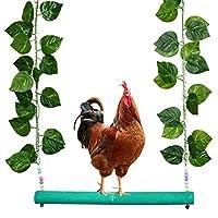 Vehomy 大鸡秋千鸡玩具成人母鸡天然木鸡秋千带厚杆和人造叶子,适合大鸟鹦鹉金刚鹦鹉鸡和母鸡彩色磨砂栖息。