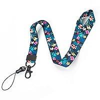 身份证徽章和手机挂绳颈带 - 夏季系列热带花卉叶设计 - 带可调节扣