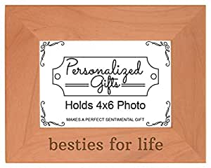 ThisWear *好的朋友礼物 Besties for Life 天然木材雕刻相框 木色 4x6 Horizontal