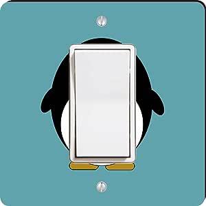 Rikki Knight Penguin on Teal Single Rocker Light Switch Plate, Blue