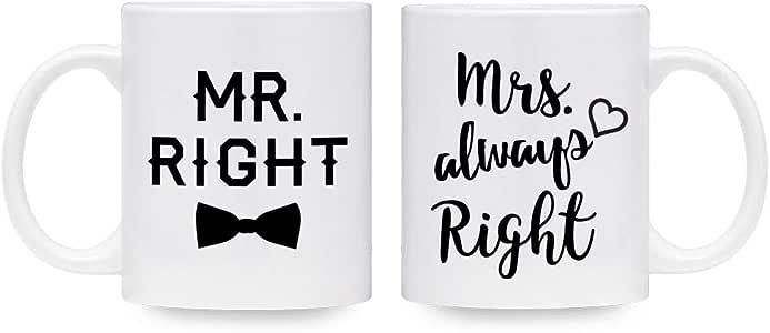 Mr Right Mrs Always Right 咖啡杯 - 新婚夫妇礼物 - 他和她的套装 白色 11 oz