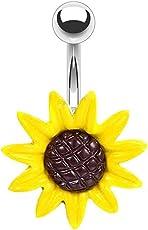mrsrui 黄色向日葵脐环肚脐杠铃穿孔身体 Jewelry 不锈钢