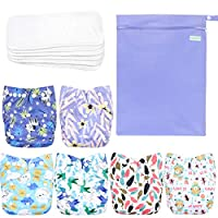 Wegreeco 可水洗可重复使用婴儿布袋尿布 6 件装 + 6 个插袋 + 1 个湿袋 Leaves, Animals + 1 Wet Bag 均码