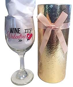 情人节*杯带礼品盒可随时赠送葡萄*爱好者 - 装饰性*杯 - 2 件结婚玻璃 - 1 件*杯,1 件*杯礼品盒容器 金色 43178-111097