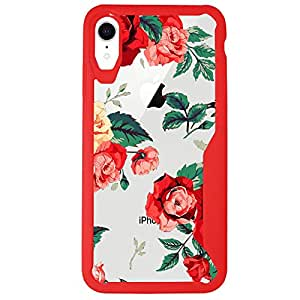 MINITURTLE 手机壳兼容苹果 iPhone XR (2018) [花卉图案手机壳] [Armor Flex 系列] 透明红色 TPU 保护壳 Vibrant Roses
