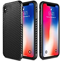 TJS iPhone Xs Max 6.5 英寸手机壳,[碳纤维] - [薄薄壳] [防滑] [无指纹]苹果 iPhone Xs Max 6.5 英寸防摔手机壳 黑色