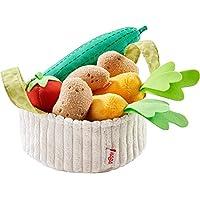 HABA 304230 – 蔬菜篮,商店和儿童厨房配件,篮子中有织物材质的黄瓜,番茄,胡萝卜和土豆,适合3岁以上儿童的玩具