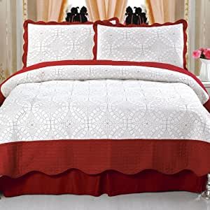Bedford Home Lydia Embroidered 3-Piece Quilt Set, King