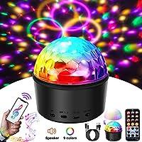 SOLMORE 派对灯声控迪斯科球带遥控 9 种颜色迪斯科灯 DJ 灯无线电话连接 LED 舞台灯适用于儿童卧室婚礼派对生日 4W