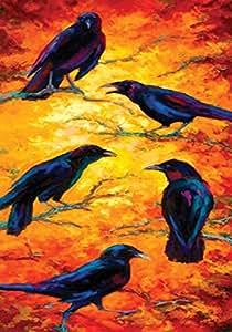 Toland Home Garden Dusk Crows 28 x 40 Inch Decorative Colorful Sunset Black Bird Branch House Flag
