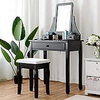 ReunionG 梳妆台套装 w/凳子和镜子,多功能化妆桌 带抽屉,360° 旋转方形镜子和加垫凳,家庭卧室