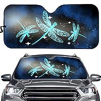 YORXINGY 自动遮阳前窗 Neone Dragonfly 印花可折叠挡风玻璃遮阳垫 通用尺寸适合大多数轿车