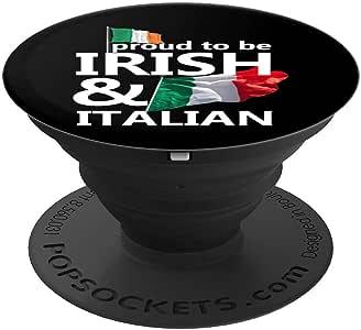 Proud Irish 意大利圣帕特里克节 - PopSockets 手机和平板电脑抓握支架260027  黑色