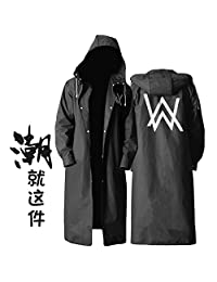时尚黑色潮版雨衣 户外徒步成人长款雨衣 (艾伦沃克图案, XXL)