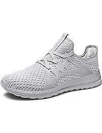 BEVEMON 男式跑鞋超轻运动鞋休闲步行运动鞋透气时尚网眼锻炼鞋