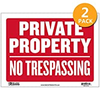 BAZIC 30.48 cm X 40.64 cm 私人财产无侵入标牌,警告限制区域*家居商店塑料标牌,乙烯基防风雨防水室内户外标牌,2 件装