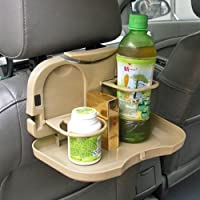 Car Backseat Food Tray with Bottle Cup Holder (Cream/Beige Color)