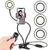 自拍环灯带手机支架适用于实时流/化妆 黑色带遥控器