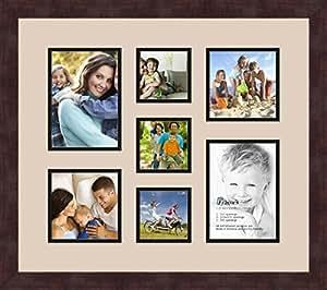 Art to Frames 双-多衬垫-568-782/89-FRBW26061 拼贴框架照片垫双衬垫带 2-5x7 和 3-3.75x3.75 和 2-5x5 开口和咖啡相框