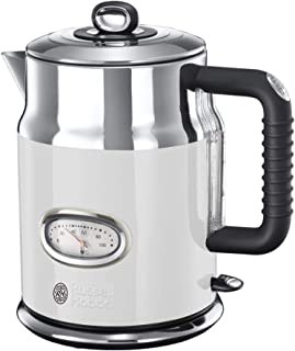 Russell Hobbs 领豪 热水器 1.7l,2400W,快速烹饪功能,复古式水温显示,料位标记,优化倒口,老式茶壶 21674-70,复古白