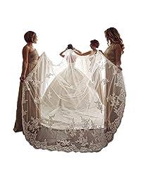 kelaixiang 优雅 1 层蕾丝亮片串珠边缘新娘婚礼头纱带梳子