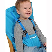 synthiiz 便携式 babystrap *带婴儿餐厅椅子*座椅工具,幼儿*胸背带,购物车*带,非常适合高脚椅/旅行/家用 Blue(Large size)