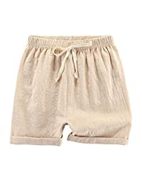 DUBASAM 儿童幼儿小男孩女孩棉麻夏季短裤纯色休闲裤带抽绳 2-7T