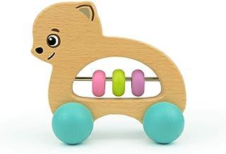 Bimi Boo 滚动玩具 - 木制婴儿摇铃 - 适合幼儿的完美抓握牙玩具 - 滚轮上俯卧时间推狗(自然山毛榉木,水性漆)