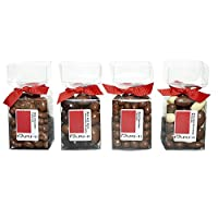 Rita Farhi Selection of Chocolate Covered Nuts (Almonds, Peanuts, Cashew Nuts and Brazil Nuts) Set of 4 Acetate Gift Boxes, 890g